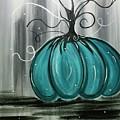 Turquoise Teal Surreal Pumpkin by Margaret Deadmon