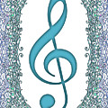 Turquoise Treble Clef With Turquoise And Blue Border by Lise Winne