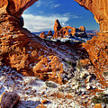 Turret Arch Through North Window Arches National Park Utah by Dave Welling