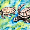 Turtle Love Pair Of Sea Turtles by Derek Mccrea