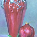 Tuscan Elements -italian Vase With Pomegranate by Virgilla Lammons