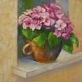 Tuscan Flower Pot Oil Painting by Chris Hobel