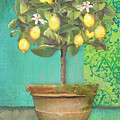 Tuscan Lemon Topiary - Damask Pattern 1 by Audrey Jeanne Roberts