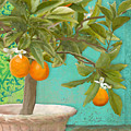 Tuscan Orange Topiary - Damask Pattern 3 by Audrey Jeanne Roberts