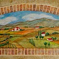 Tuscan Scene Brick Window by Anita Burgermeister