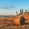Tuscany Landscape With Farm House At Sunset, Val D'orcia, Italy by JR Photography