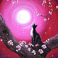 Tuxedo Cat In Cherry Blossoms by Laura Iverson