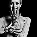 Twiggy Wearing Watch Jewelry by Bert Stern