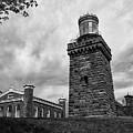 Twin Lights South Tower In Black And White by Mark Miller