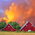 Two Barns At Sunset by Dominic Piperata