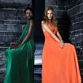 Two Beautiful Women In Elegant Long Dresses by Oleksiy Maksymenko