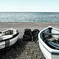 Two Boats On Seaford Beach by Toula Mavridou-Messer