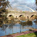 Two Bridges In Merida Spain by Joan Carroll
