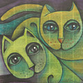 Two Cats  2000 by S A C H A -  Circulism Technique