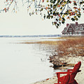 Two Chairs By The Lake's Edge In Autumn by Sandra Cunningham