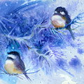 Two Chickadees In Snow by Peggy Wilson