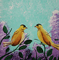 Two Chickadees Standing On Branches by M Valeriano