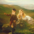 Two Children Fishing In Scotland   by Otto Leyde