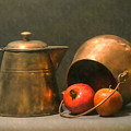 Two Copper Pots Pomegranate And An Apple by Frank Wilson