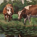 Two Cows By A Pond by Mark Crum