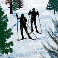 Two Cross Country Skiers In Snow Squall by Elaine Plesser