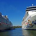 Two Cruise Ships by Zal Latzkovich