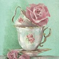 Two Cup Rose Painting by Chris Hobel