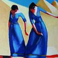 Two Dancers With Three Pyramids by Ihab Bishai