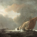 Two Dutch Vessels Close-hauled In A Strong Breeze by Willem van de Velde the Younger