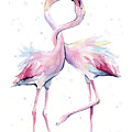 Two Flamingos Watercolor Famingo Love by Olga Shvartsur