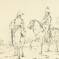 Two French Cavalrymen On Horseback by Celestial Images