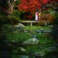 Two Girls In Kimono Standing On A Bridge In Japanese Garden In A by Awen Fine Art Prints