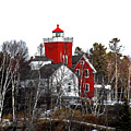 Two Harbors Lighthouse Close-up by Bryan Benson