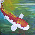 Two Koi And Water Lily by Barbara Harper