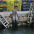 Two Ladders At High Tide by Mike Martin