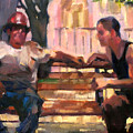 Two Men On A Bench by Merle Keller