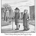 Two Older Men Walk With Canes Through A Park. by Harry Bliss