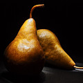 Two Pears Light Painted On Black Background by Vishwanath Bhat