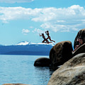 Two People Jumping Into The Cold Water Of Lake Tahoe by Dan Friend