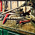 Two Red Wrenches On Plumber's Workbench by Susan Savad
