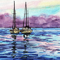 Two Sailboats At The Shore Watercolor by Irina Sztukowski