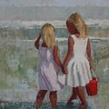 Two Sisters And Red Bucket by Hope Reis
