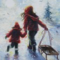 Two Sisters Going Sledding by Vickie Wade