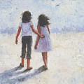 Two Sisters Walking Beach by Vickie Wade
