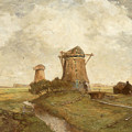 Two Windmills Between Abcoude And Ouderkerk On The Amstel by Paul Gabriel
