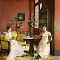 Two Women Reading In An Interior  by Jean Georges Ferry