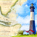 Tybee Island Light - Vintage Nautical Map by Mark Tisdale
