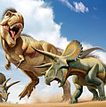 Tyrannosaurus Rex Fighting With Two by Mohamad Haghani