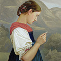 Tyrolean Girl Contemplating A Crucifix by Rudolph Friedrich Wasmann