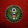 U. S.  Army Emblem Over Red Velvet by Serge Averbukh